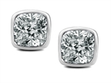 Original Star K 7mm Cushion Cut Genuine White Topaz Earring Studs