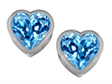 Original Star K™ 7mm Heart Shape Simulated Blue Topaz Heart Earrings Studs style: 307050