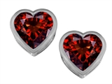 Original Star K 7mm Heart Shape Genuine Garnet Heart Earring Studs