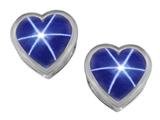 Original Star K™ 7mm Heart Shape Created Star Sapphire Heart Earrings Studs style: 307054