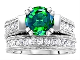 Original Star K™ 7mm Round Simulated Emerald Wedding Set style: 307056