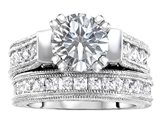 Original Star K™ 7mm Round Genuine White Topaz Engagement Wedding Set