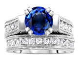 Original Star K™ 7mm Round Created Sapphire Engagement Wedding Set style: 307059