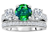 Original Star K 7mm Round Simulated Emerald Engagement Wedding Set