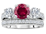 Original Star K 7mm Round Created Ruby Engagement Wedding Set