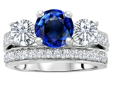 Original Star K™ 7mm Round Created Sapphire Engagement Wedding Set