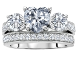 Original Star K™ 7mm Heart Shape Genuine White Topaz Engagement Wedding Set style: 307066