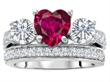 Original Star K 7mm Heart Shape Created Ruby Engagement Wedding Set
