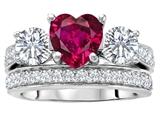 Original Star K™ 7mm Heart Shape Created Ruby Wedding Set style: 307067