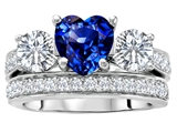 Original Star K™ 7mm Heart Shape Created Sapphire Engagement Wedding Set style: 307068