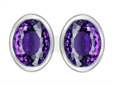 Original Star K™ 8x6mm Oval Genuine Amethyst Earring Studs