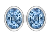 Original Star K 8x6mm Oval Simulated Aquamarine Earring Studs