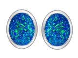 Original Star K 8x6mm Oval Created Blue Opal Earring Studs