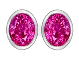 Original Star K 8x6mm Oval Created Pink Sapphire Earring Studs
