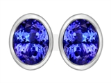 Star K™ 8x6mm Oval Simulated Tanzanite Earrings Studs style: 307083