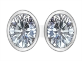 Original Star K 8x6mm Oval Genuine White Topaz Earring Studs
