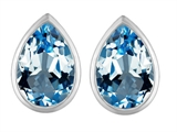 Original Star K™ 9x6mm Pear Shape Simulated Blue Topaz Earrings Studs style: 307090