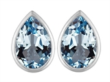 Original Star K™ 9x6mm Pear Shape Simulated Aquamarine Earrings Studs style: 307094