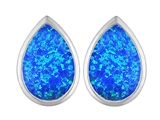 Original Star K 9x6mm Pear Shape Created Blue Opal Earring Studs