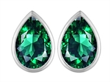 Star K™ 9x6mm Pear Shape Simulated Emerald Earrings Studs style: 307096