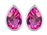 Original Star K™ 9x6mm Pear Shape Created Pink Sapphire Earrings Studs style: 307099