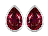 Star K™ 9x6mm Pear Shape Created Ruby Earrings Studs style: 307100