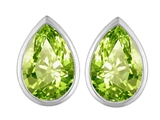 Original Star K™ 9x6mm Pear Shape Simulated Peridot Earrings Studs style: 307104