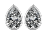 Original Star K 9x6mm Pear Shape Genuine White Topaz Earring Studs