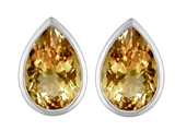 Original Star K 9x6mm Pear Shape Simulated Imperial Yellow Topaz Earring Studs