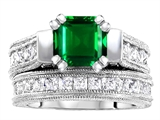 Original Star K™ 7mm Square Cut Simulated Emerald Engagement Wedding Set