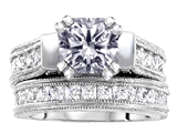 Original Star K™ 7mm Square Cut Genuine White Topaz Wedding Set style: 307110