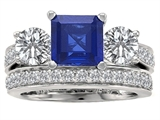Original Star K™ 7mm Square Cut Created Sapphire Engagement Wedding Set style: 307115