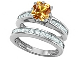 Original Star K Cushion Cut 7mm Genuine Citrine Engagement Wedding Set