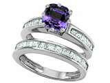 Original Star K Cushion Cut 7mm Simulated Alexandrite Engagement Wedding Set