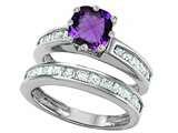 Original Star K Cushion Cut 7mm Genuine Amethyst Engagement Wedding Set