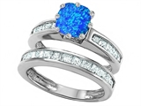 Original Star K Cushion Cut 7mm Created Blue Opal Engagement Wedding Set
