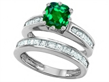 Original Star K™ Cushion Cut 7mm Simulated Emerald Engagement Wedding Set style: 307124