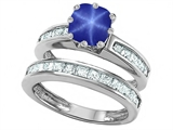 Original Star K™ Cushion Cut 7mm Created Star Sapphire Engagement Wedding Set