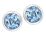 Original Star K 7mm Round Simulated Aquamarine Earring Studs