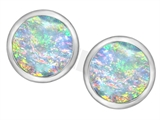 Original Star K™ 7mm Round Simulated Opal Earrings Studs style: 307140
