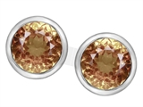 Original Star K 7mm Round Simulated Imperial Yellow Topaz Earring Studs