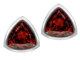 Original Star K 7mm Trillion Cut Genuine Garnet Earring Studs