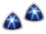 Original Star K™ 7mm Trillion Cut Created Star Sapphire Earrings Studs style: 307153