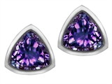 Original Star K™ 7mm Trillion Cut Simulated Alexandrite Earrings Studs style: 307157