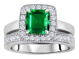 Original Star K 6mm Square Cut Simulated Emerald Engagement Wedding Set