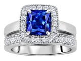 Original Star K™ 6mm Square Cut Created Sapphire Wedding Set style: 307161
