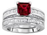 Original Star K™ 6mm Square Cut Created Ruby Wedding Set style: 307164
