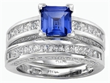 Original Star K™ 6mm Square Cut Created Sapphire Wedding Set style: 307165
