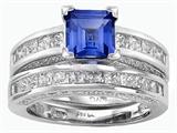 Original Star K™ 6mm Square Cut Created Sapphire Wedding Set style: 307165