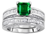 Original Star K™ 6mm Square Cut Simulated Emerald Engagement Wedding Set style: 307167